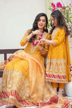 Ivana kids 3 piece luxury embroidered chiffon suit in mustard