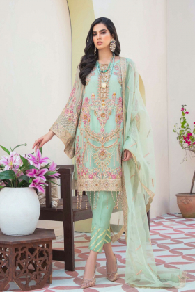 Ivana 3 piece luxury embroidered suit in mint