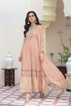 Ivana 3 piece luxury embroidered chiffon suit in peach