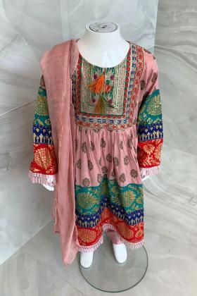 Kids 3 piece lawn luxury printed suit in pink