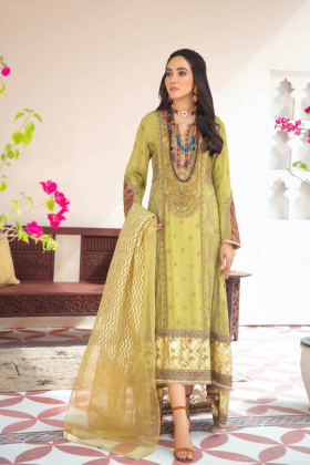 Ivana 3 piece luxury embroidered long dress in green