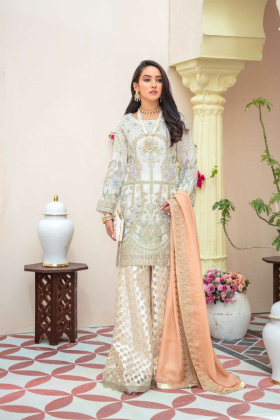 Ivana 3 piece chiffon luxury embroidered suit in white peach