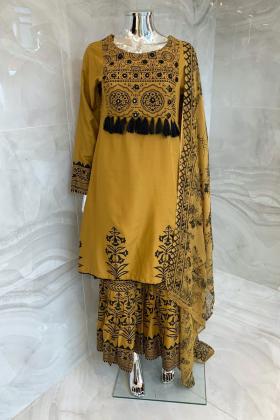 3 Piece printed lawn garara suit in mustard