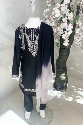 Kids 3 piece casual lawn embroidered suit in black
