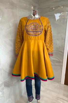 Casual peplum embroidered kurta in mustard