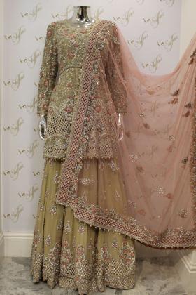 Mint Heavy Thread Embroidery And Diamonds Work On Chiffon Bridal Dress