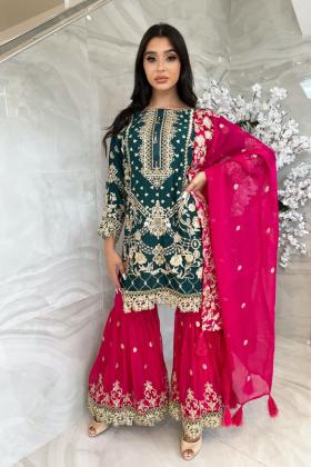 3 Piece luxury mehndi green and pink gharara suit