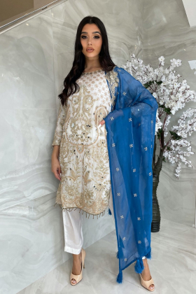 Beautiful 3 piece chiffon white and blue suit with mirror embellishments