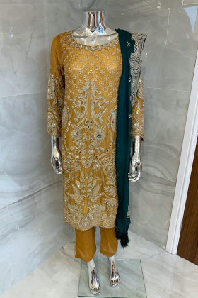 Beautiful 3 piece chiffon mustard and green suit with mirror embellishments