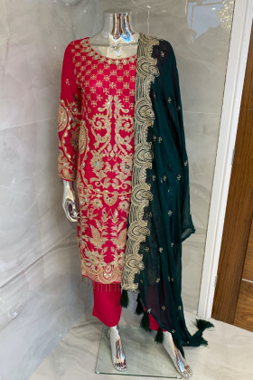 Beautiful 3 piece chiffon pink and green suit with mirror embellishments