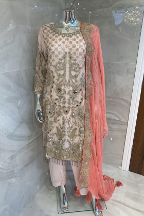 Beautiful 3 piece chiffon pink and peach suit with mirror embellishments