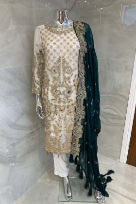 Beautiful 3 piece chiffon white and green suit with mirror embellishments