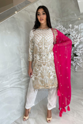 Beautiful 3 piece chiffon white and pink suit with mirror embellishments