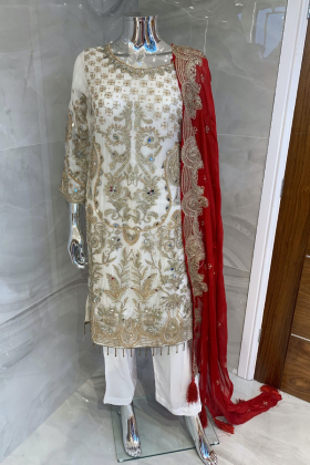 Beautiful 3 piece chiffon white and red suit with mirror embellishments