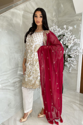 Beautiful 3 piece chiffon white and maroon suit with mirror embellishments