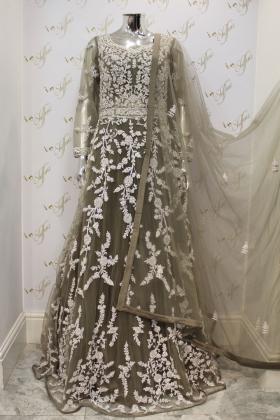 Grey Net Three Piece Dress With Heavy Embroidery And Diamonds