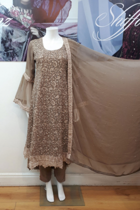 Brown partywear with dori thread work