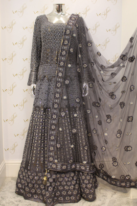 Grey Beautiful Thread And Diamond Work On Net Party And Wedding Outfit