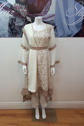 Cream partywear with dori thread work