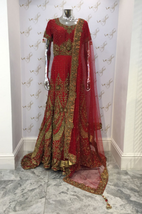Silk heavy stone gold work outfit