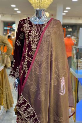Maroon embroided velvet dress