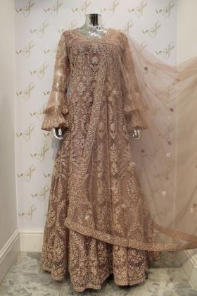 Dusty pink net long gown partywear