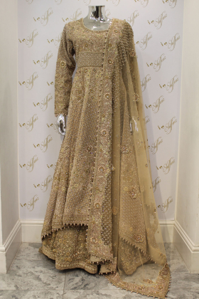 Heavily Embellished Three Piece Gown in Light Brown