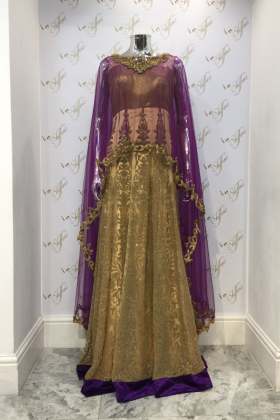 Partywear outfit with gold stone and sequence work