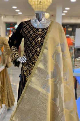 Brown velvet embroided dress