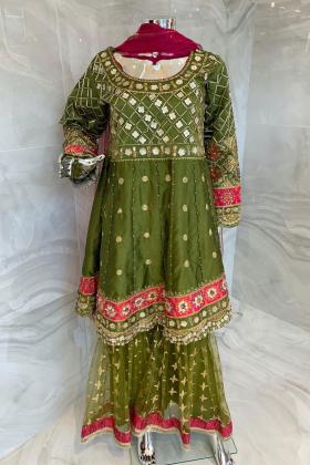 3 Piece luxury embroidered peplum style garara suit in green