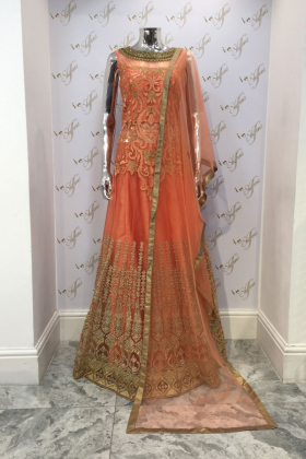 Peach partywear with threadwork and mirrors