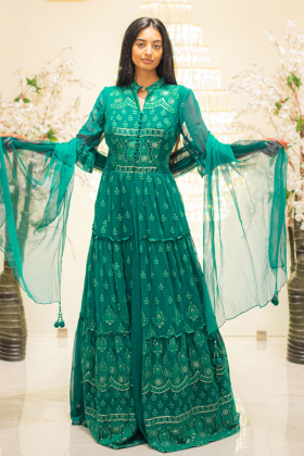 3 Piece green embroidered long dress