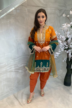 Eid collection 2021-3 Piece luxury embroidered tulip dress in orange
