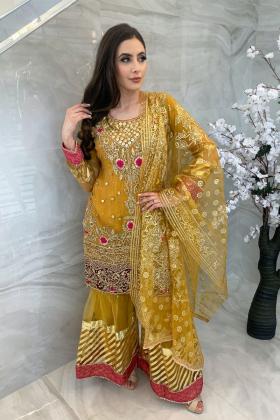 3 Piece luxury embroidered garara suit in mustard