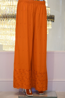 Orange linen trusers