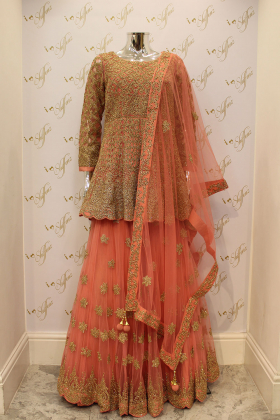 Dusty Pink Net Wedding And Party Outfit With Heavy Gold Gotta Work And Diamonds