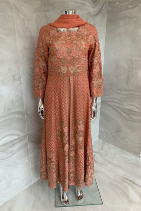 3 Piece luxury embroidered chiffon suit in peach