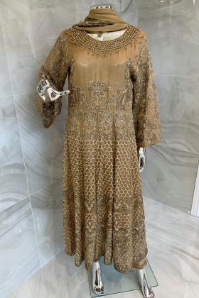 3 Piece luxury embroidered gold chiffon long dress