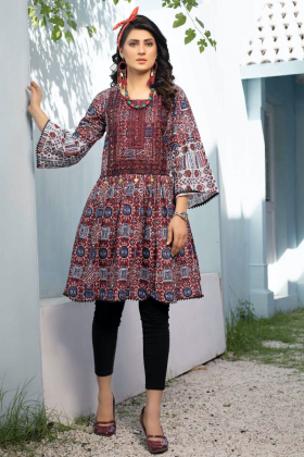 Beautiful printed ajrak kurta in maroon
