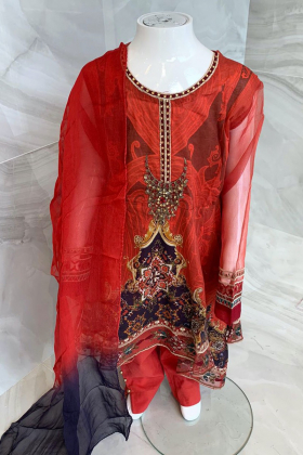 Kids 3 piece lawn printed peplum style suit in red