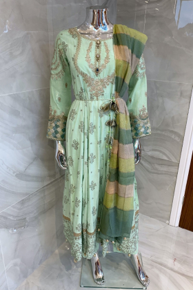 3 Piece casual luxury printed suit in mint