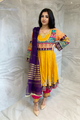 3 Piece luxury embroidered phatani suit in mustard and pink