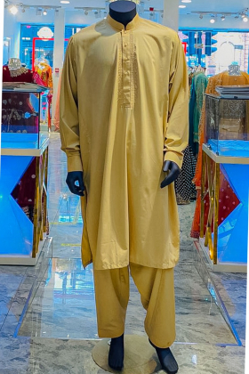 Fawn embroidered mens al qaisar suit