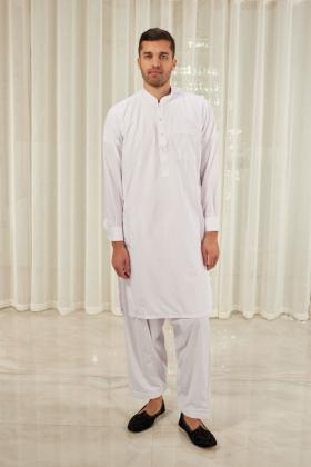 Men's plain shalwar kameez in white