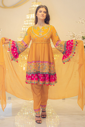 3 Piece mustard linen afghan style embroidered suit