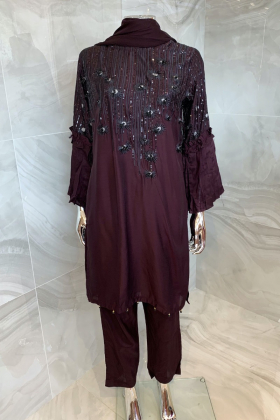 3 Piece casual lawn plum suit with thread-work embroidery