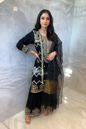 3 Piece casual linen embroidered gharara suit in black
