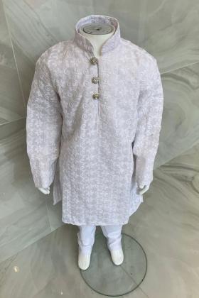Kids boys 2 piece plain chicken suit in white