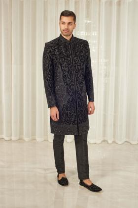 Men's black luxury embroidered sherwani