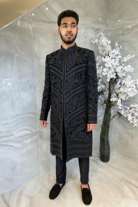 Luxury embroidered men's sherwani in black